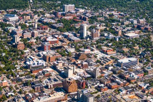 Aerial view of downtown Ann Arbor and University of Michigan main campus, by Proshooter